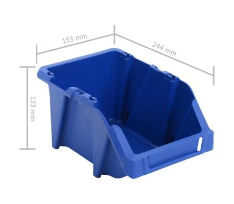 vidaXL Bac de rangement empilable 75 pcs 153 x 244 x 123 mm Bleu[8/8]