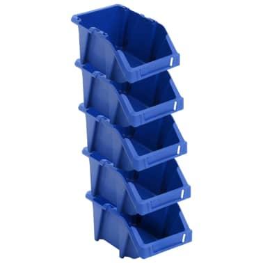 vidaXL Bac de rangement empilable 75 pcs 153 x 244 x 123 mm Bleu[3/8]