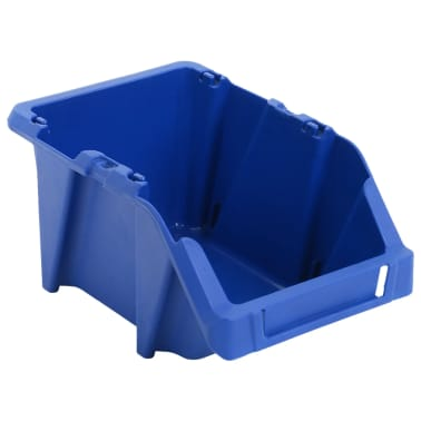 vidaXL Bac de rangement empilable 75 pcs 153 x 244 x 123 mm Bleu[5/8]