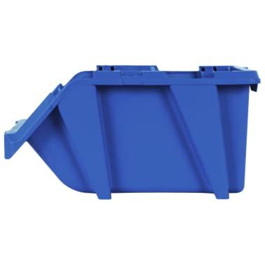 vidaXL Bac de rangement empilable 75 pcs 153 x 244 x 123 mm Bleu[7/8]