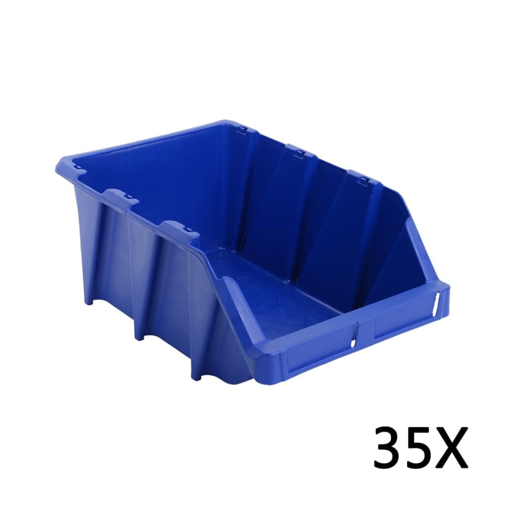 vidaXL Stohovatelné skladovací zásobníky 35 ks 218x360x156 mm modré