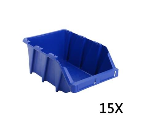vidaXL stabelbare opbevaringskasser 15 stk. 310 x 490 x 195 mm blå[1/8]