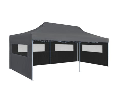 "vidaXL Folding Pop-up Partytent with Sidewalls 9'10""x19'8"" Anthracite"
