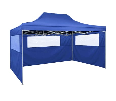 vidaXL Foldable Tent with 3 Walls 3x4.5 m Blue