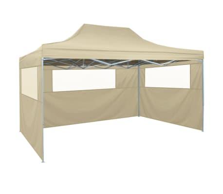vidaXL Tente pliable avec 3 parois 3 x 4,5 m Crème