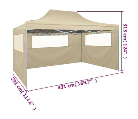 vidaXL Tente pliable avec 3 parois 3 x 4,5 m Crème[9/10]