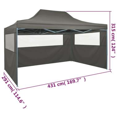 vidaXL Tenda Pieghevole con 3 Pareti 3x4,5 m Antracite[9/10]
