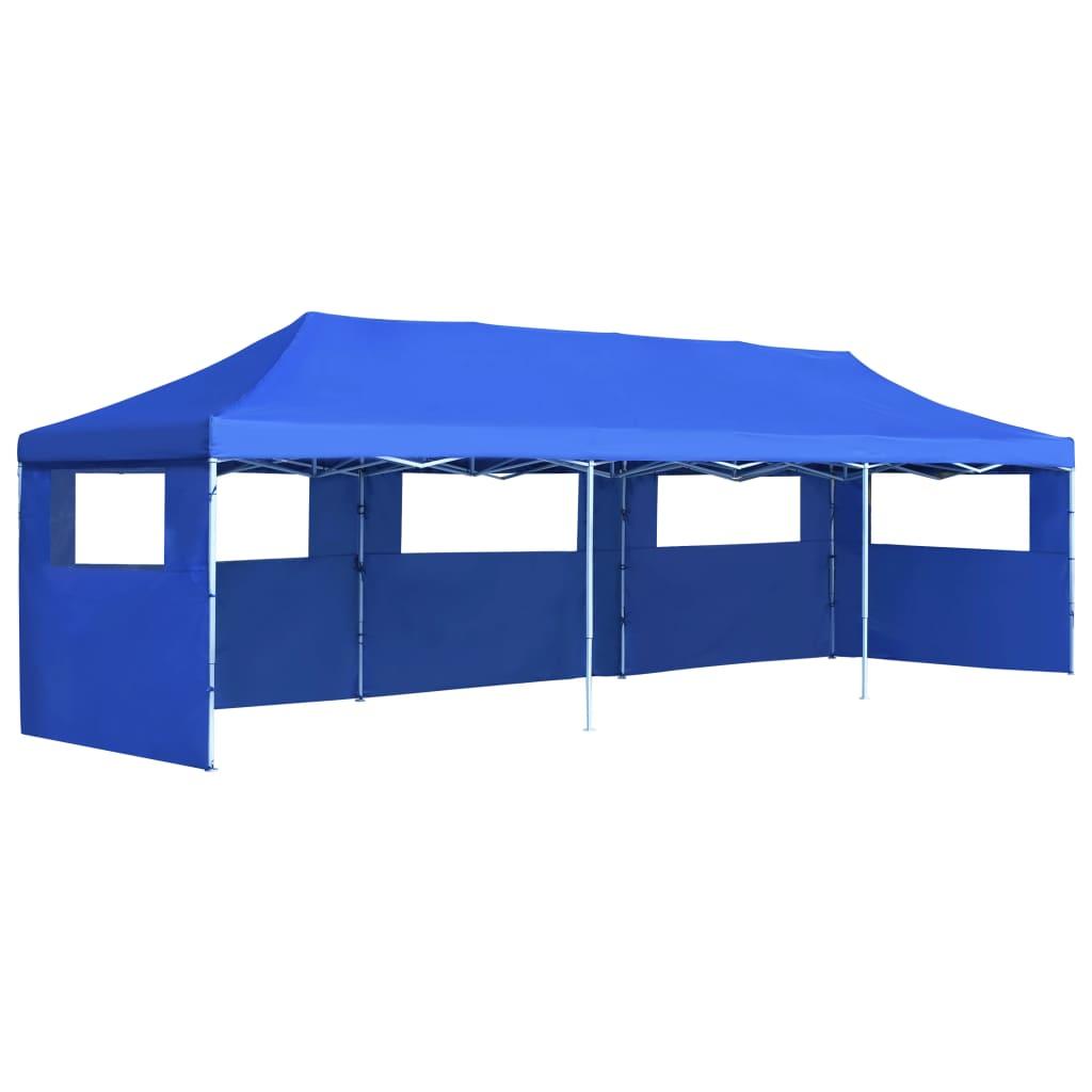 vidaXL Vouwtent pop-up met 5 zijwanden 3x9 m blauw