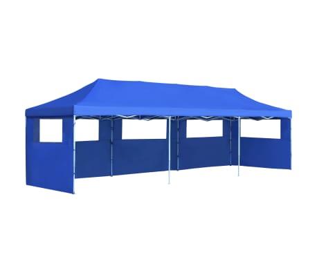 vidaXL Kokoontaitettava pop-up juhlateltta 5 sivuseinää 3x9 m sininen