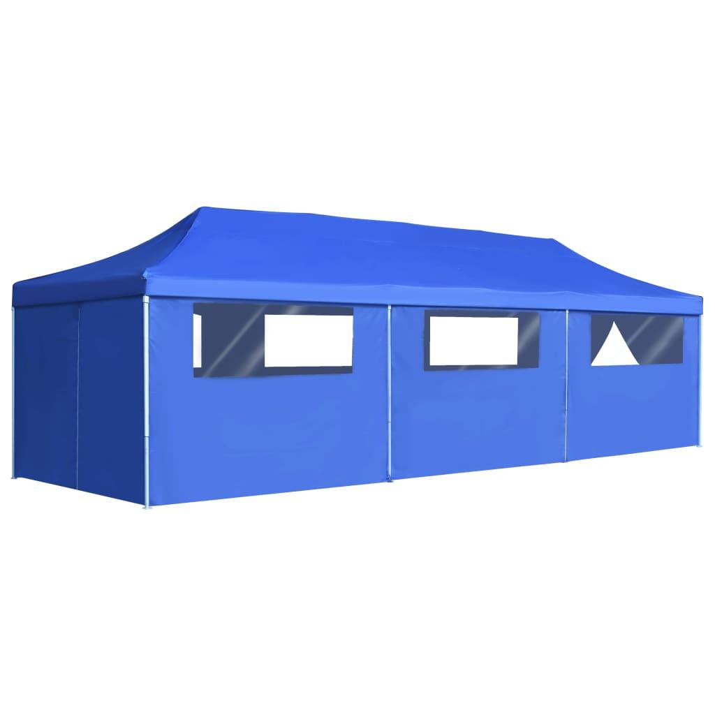 vidaXL Vouwtent pop-up met 8 zijwanden 3x9 m blauw