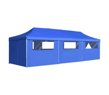 vidaXL Сгъваема шатра с 8 странични стени, 3x9 м, синя