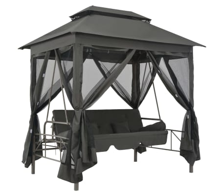 vidaXL Zunanja gugalnica s streho antracitna 220x160x240 cm jeklo