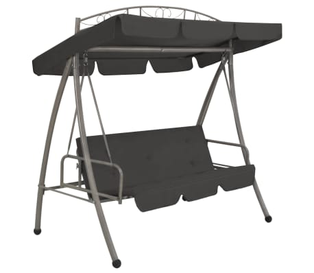 "vidaXL Outdoor Convertible Swing Bench with Canopy Anthracite 78""x47.2""x80.7"" Steel"