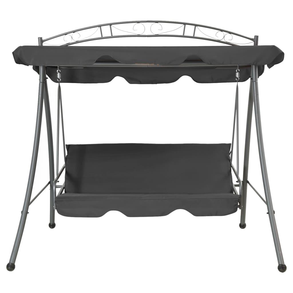vidaXL Tuinschommelstoel met luifel 198x120x205 cm staal antraciet
