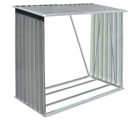 vidaXL Brennholzlager Verzinkter Stahl 163 x 83 x 154 cm Grau[2/7]