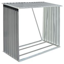 vidaXL Casetilla para leña acero galvanizado gris 163x83x154 cm