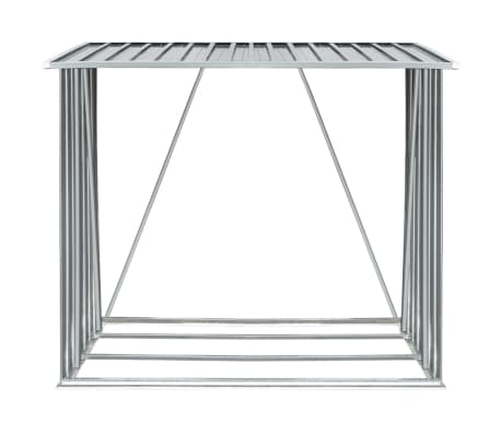 vidaXL Șopron depozitare lemne, oțel galvanizat, 163x83x154 cm, gri[3/7]