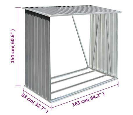 vidaXL Brennholzlager Verzinkter Stahl 163 x 83 x 154 cm Grau[7/7]