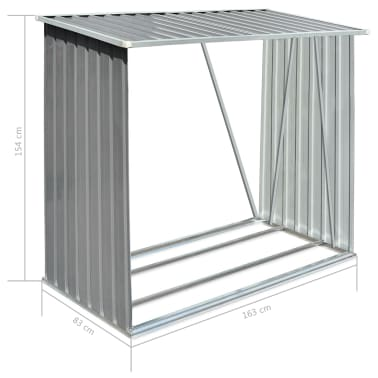 vidaXL Șopron depozitare lemne, oțel galvanizat, 163x83x154 cm, gri[7/7]