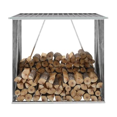 vidaXL Șopron depozitare lemne, oțel galvanizat, 163x83x154 cm, gri[1/7]