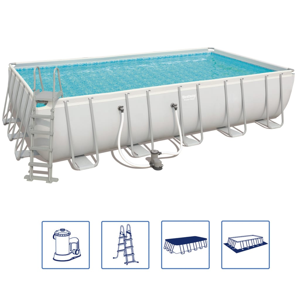 Afbeelding van Bestway Power Steel zwembadset rechthoekig 56470