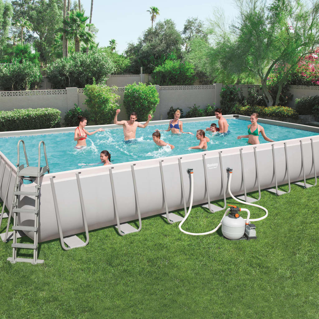 Bestway Jeu de piscine Power Steel Rectangulaire 956x488x132 cm 56623