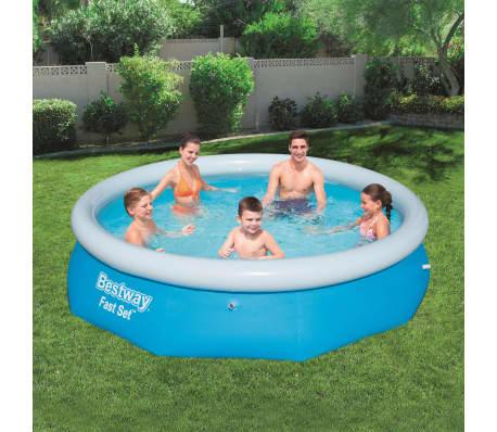 Bestway fast set aufblasbarer swimmingpool rund 305x76 cm for Aufblasbarer pool gunstig