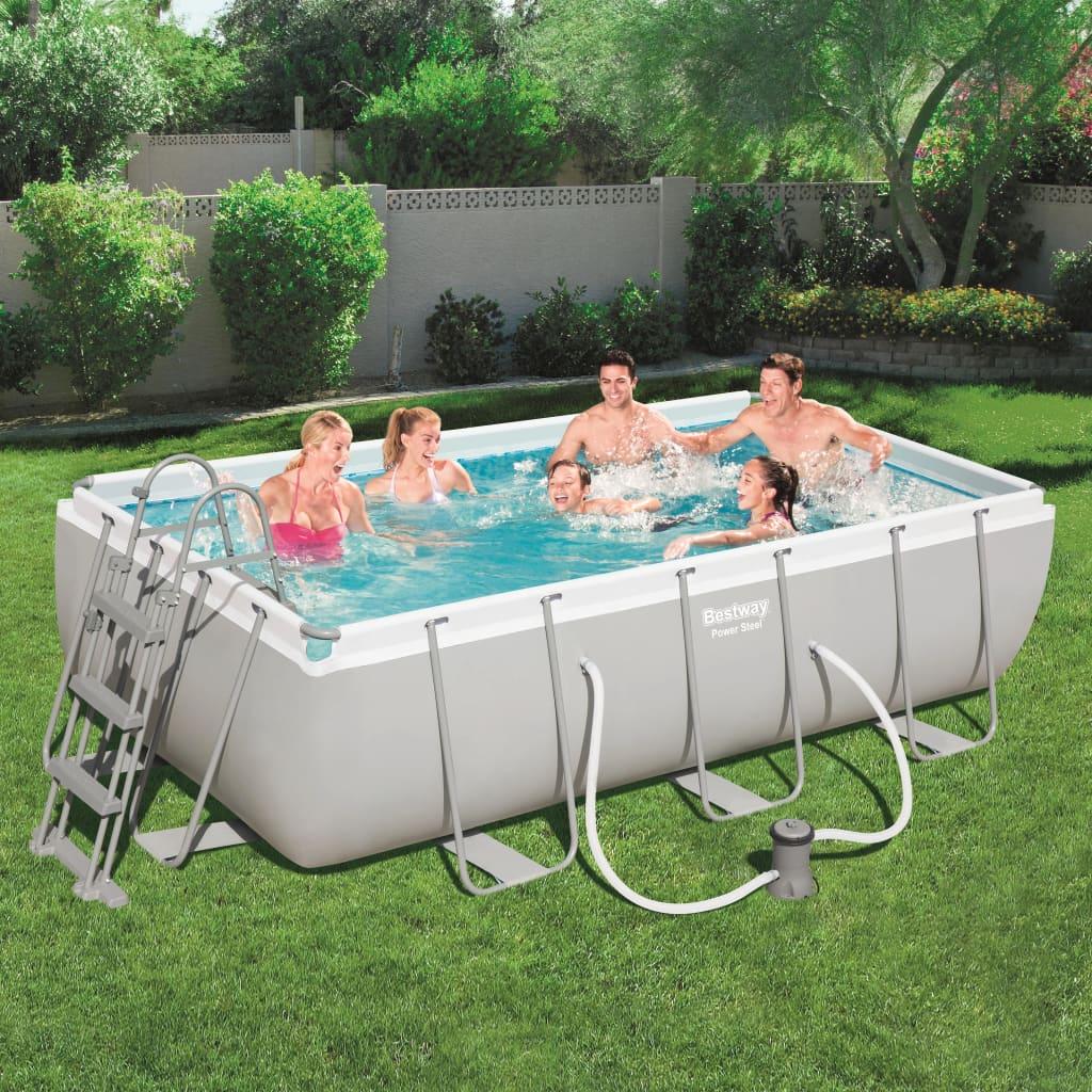 Bestway Jeu de piscine rectangulaire Power Steel 404x201x100 cm 56441