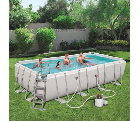 bestway power steel pool set rechteckig 56466 g nstig. Black Bedroom Furniture Sets. Home Design Ideas