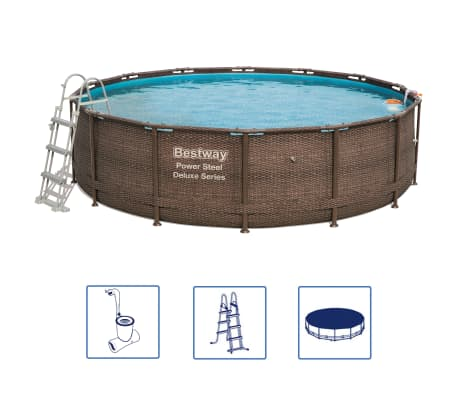 Bestway Jeu de piscine rond Power Steel Deluxe Series 427x107 cm 56664