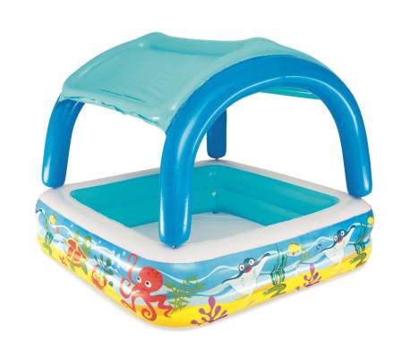 Bestway Детски басейн с навес, 140x140x114 см, син, 52192