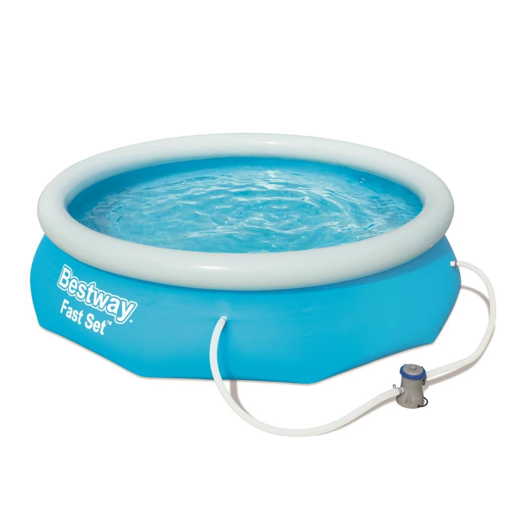 Deze Bestway Fast Set zwembadset 57270 met opblaasbare rand biedt je een uiterst handige oplossing om tijdens de zomer lekker in je tuin te kunnen zwemmen.