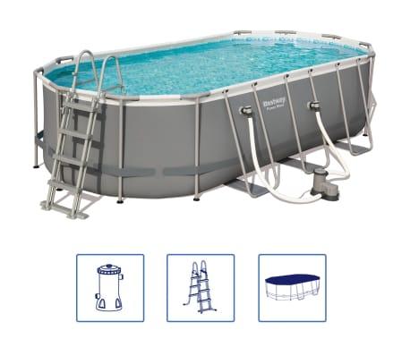 Bestway Ensemble de piscine Power Steel Ovale 549x274x122 cm 56710