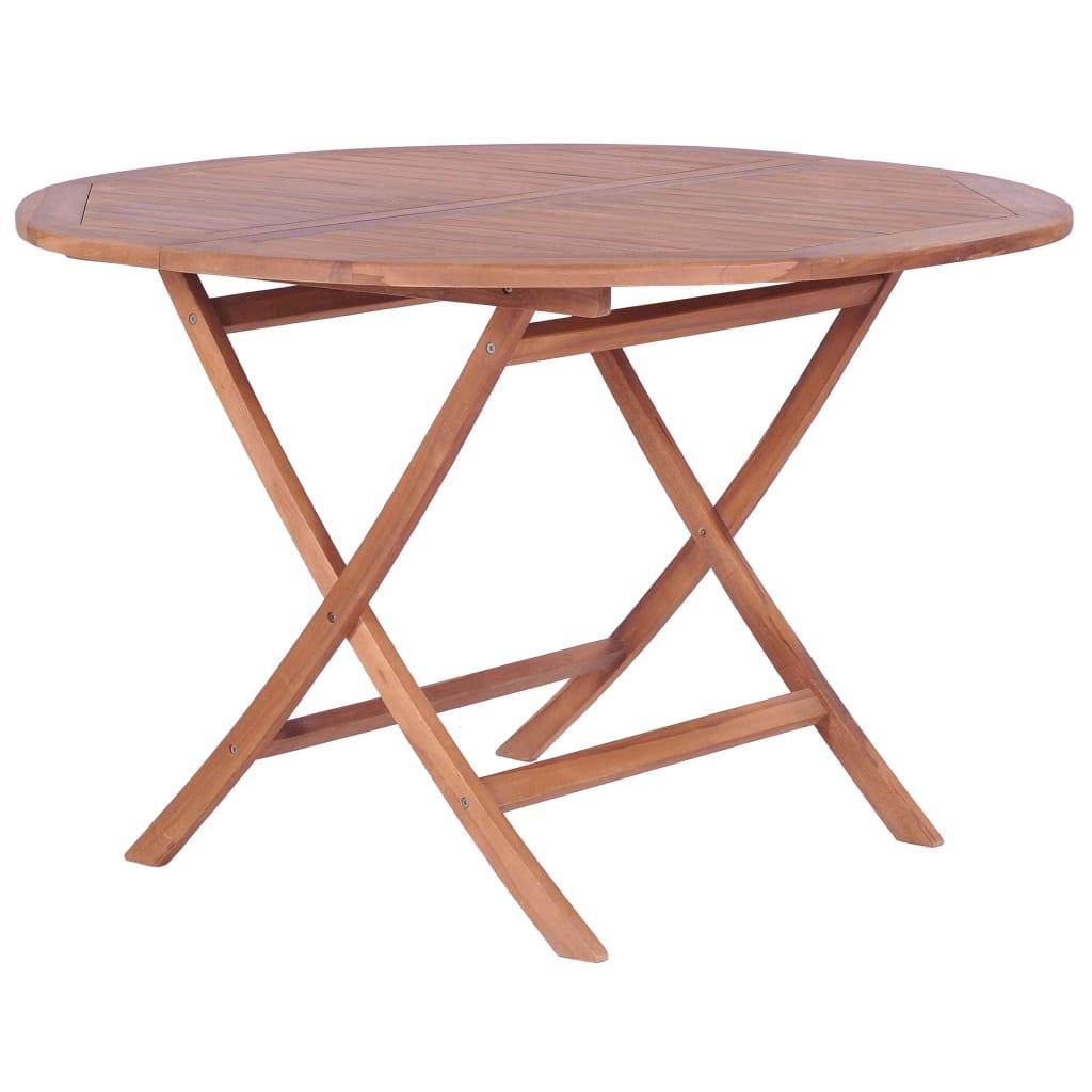 vidaXL Składany stół ogrodowy, 120x75 cm, lite drewno tekowe