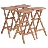 vidaXL Folding Bar Stools 4 pcs Solid Teak Wood