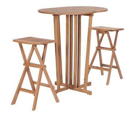 vidaXL Juego de bar plegable 3 piezas madera de teca maciza