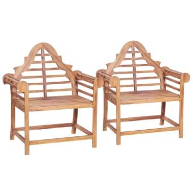 vidaXL Chaise de jardin 2 pcs 91x62x102 cm Teck solide ...