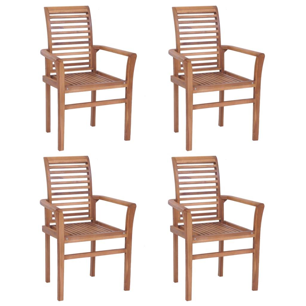 vidaXL Καρέκλες Τραπεζαρίας Στοιβαζόμενες 4 τεμ. από Μασίφ Ξύλο Teak