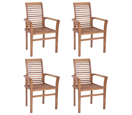 vidaXL Stacking Dining Chairs 4 pcs Solid Teak