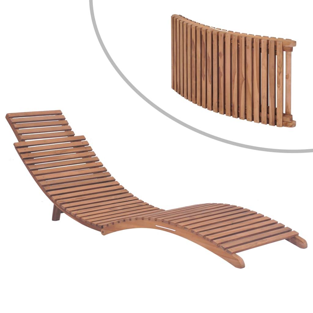 vidaXL Șezlong de plajă pliabil, lemn masiv de tec vidaxl.ro