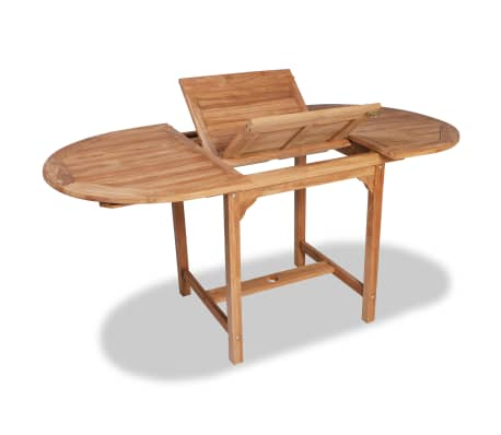 vidaXL Extending Garden Table (110-160)x80x75cm Solid Teak Wood