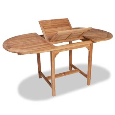 vidaXL Table extensible à dîner de jardin Teck Ovale (110 ...