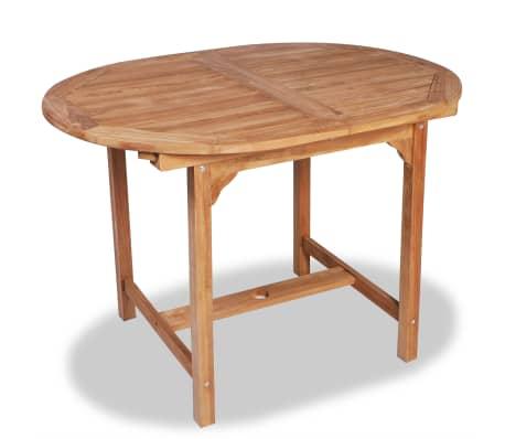 vidaXL Išskleidžiamas sodo stalas, (110-160)x80x75cm, tikmedžio med.[2/5]