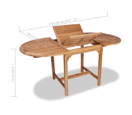 vidaXL Išskleidžiamas sodo stalas, (110-160)x80x75cm, tikmedžio med.[5/5]