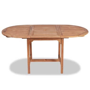 vidaXL Išskleidžiamas sodo stalas, (110-160)x80x75cm, tikmedžio med.[3/5]