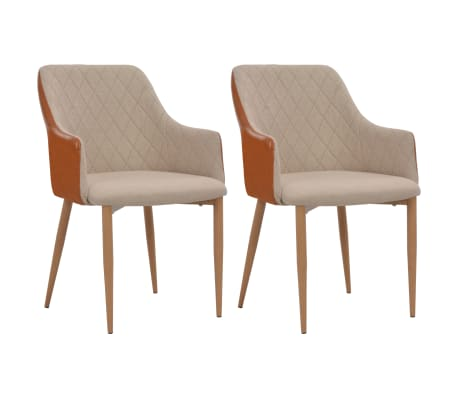 vidaXL Καρέκλες Τραπεζαρίας 2 τεμ. Γκρι / Καφέ Υφασμάτινες
