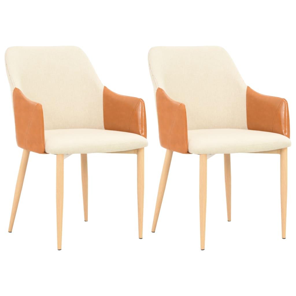 vidaXL spisebordsstole 2 stk. stof brun og cremefarvet