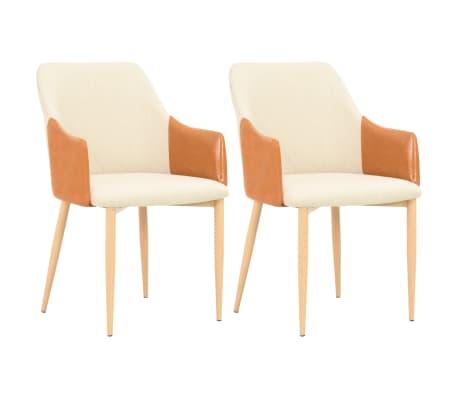 vidaXL Krzesła stołowe, 2 szt., brązowo-kremowe, tkanina