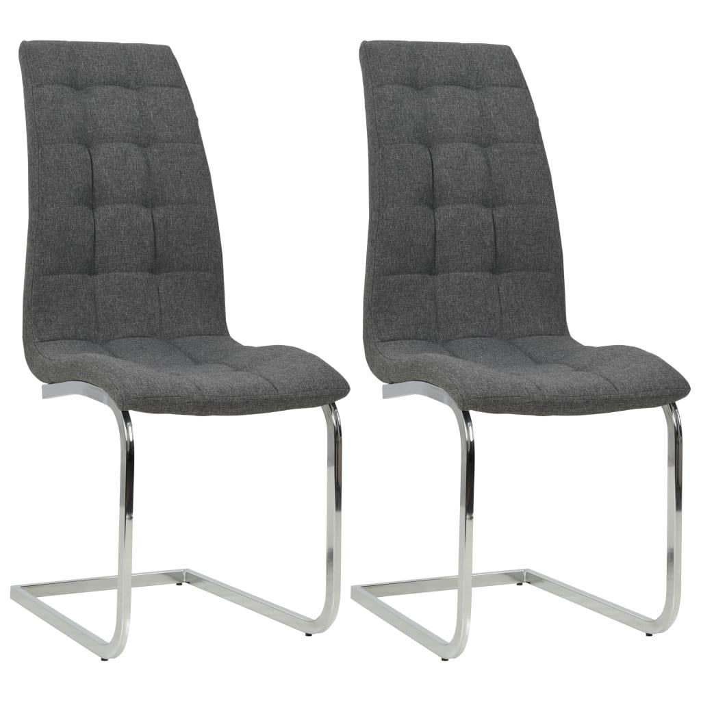 vidaXL Καρέκλες Τραπεζαρίας 2 τεμ. Σκ. Γκρι 42,5x61x104,5 εκ. Ύφασμα