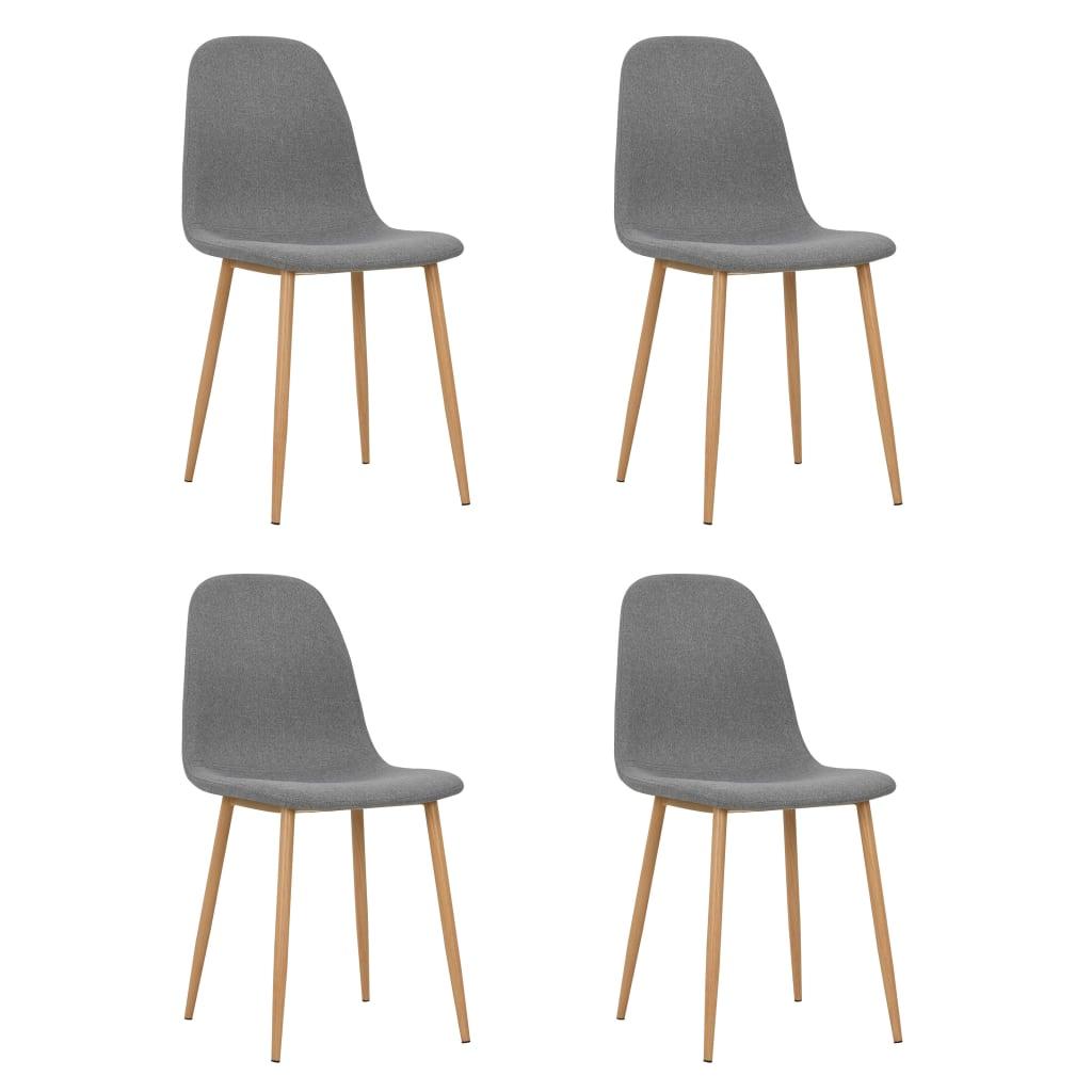 vidaXL Καρέκλες Τραπεζαρίας 4 τεμ Ανοιχτό Γκρι 45x55x85 εκ Ύφασματινες